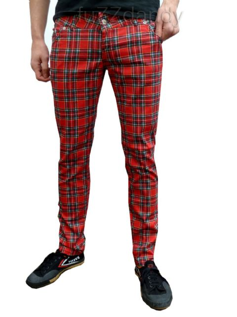 Ronnie - Super Skinny Drainpipes Jeans (red tartan)